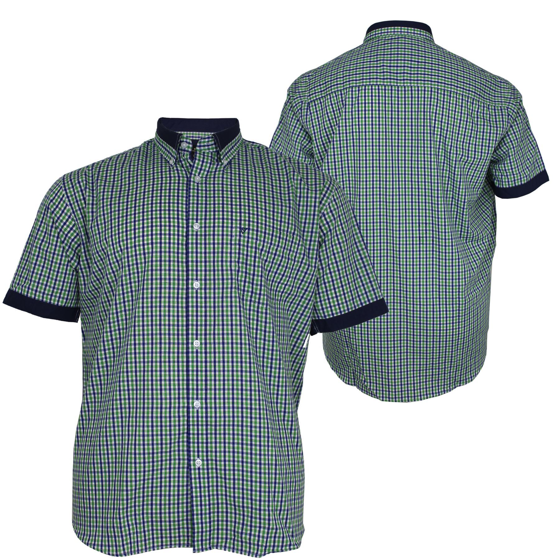 Mens big size cotton valley casual green short sleeve for Mens 2xl tall shirts
