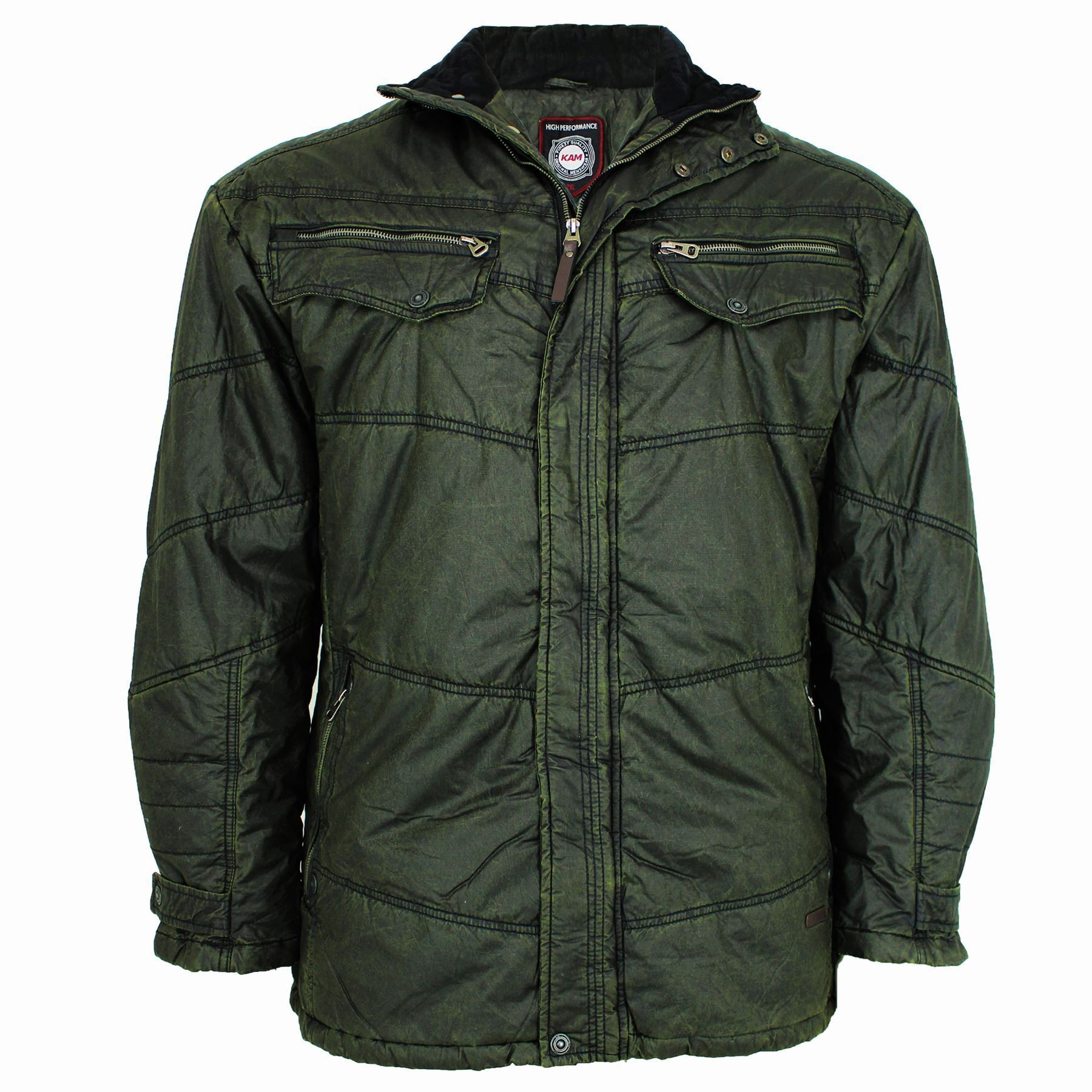 Mens Big Size KAM Padded Quilted Olive Enzyme Wash Wax ...