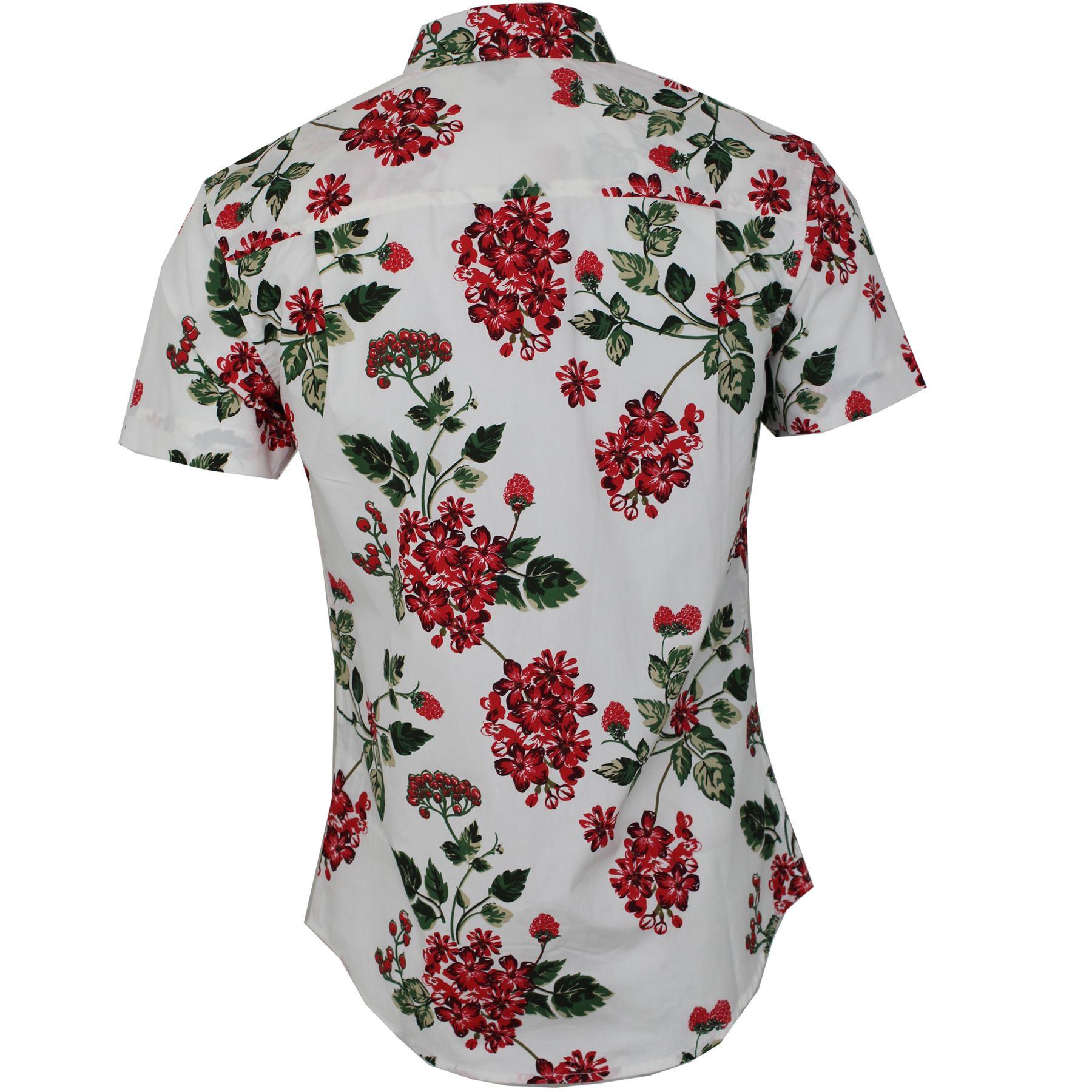 Mens threadbare floral hawaiian casual summer short sleeve for Mens short sleeve floral shirt