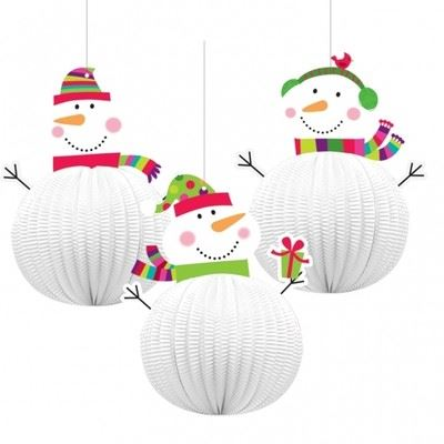 3-3D-CHRISTMAS-JOYFUL-SNOWMAN-HANGING-DECORATION-20-3CM-CEILING-DECORATIONS