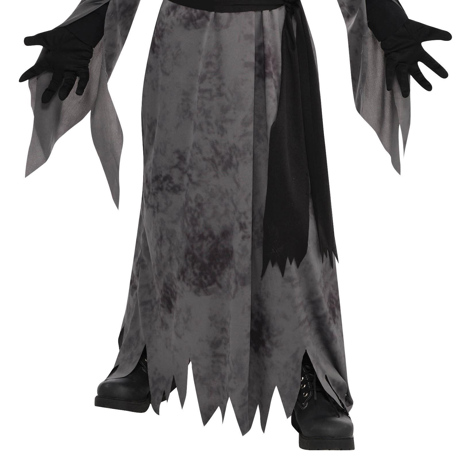 Teen Boys Ghastly Ghoul Ghost Halloween Mask Robe Scythe Fancy ...