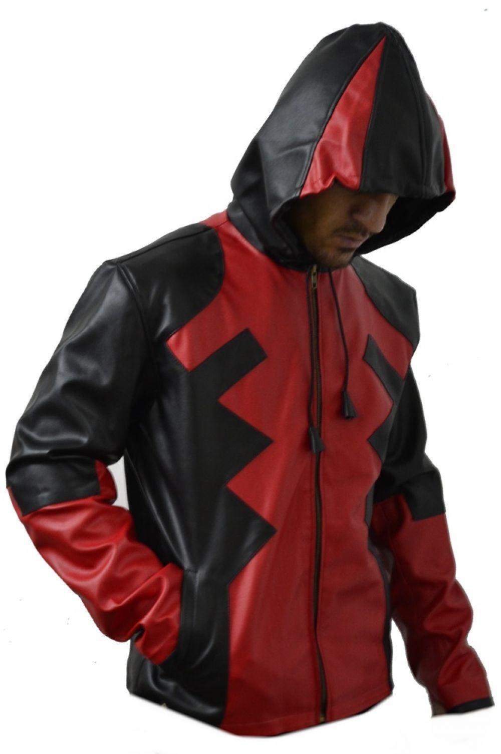 Leather jacket hoodie - Celebrita Italy Dead Pool Style Men 039 S