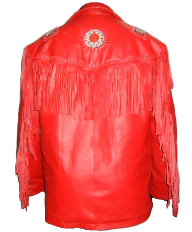 kfire cowboy lederjacke mit fransen red beaded ebay. Black Bedroom Furniture Sets. Home Design Ideas
