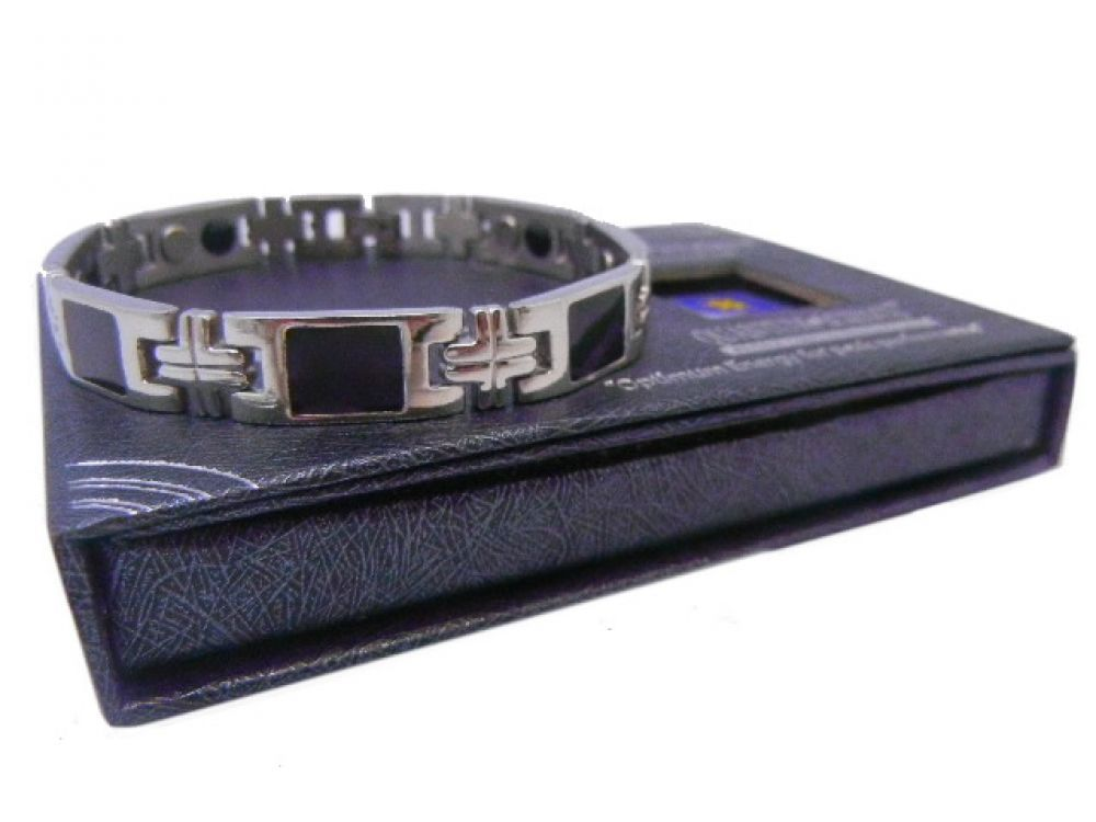 Bioexcel Quantum Scalar Energy Therapy Bracelet - Black Silver Square -Pack Size