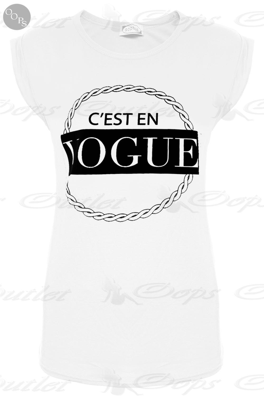 Womens Ladies C'ESTEN VOGUE Print Round Neck Turn Up Cap Sleeve Tee T Shirt Tops