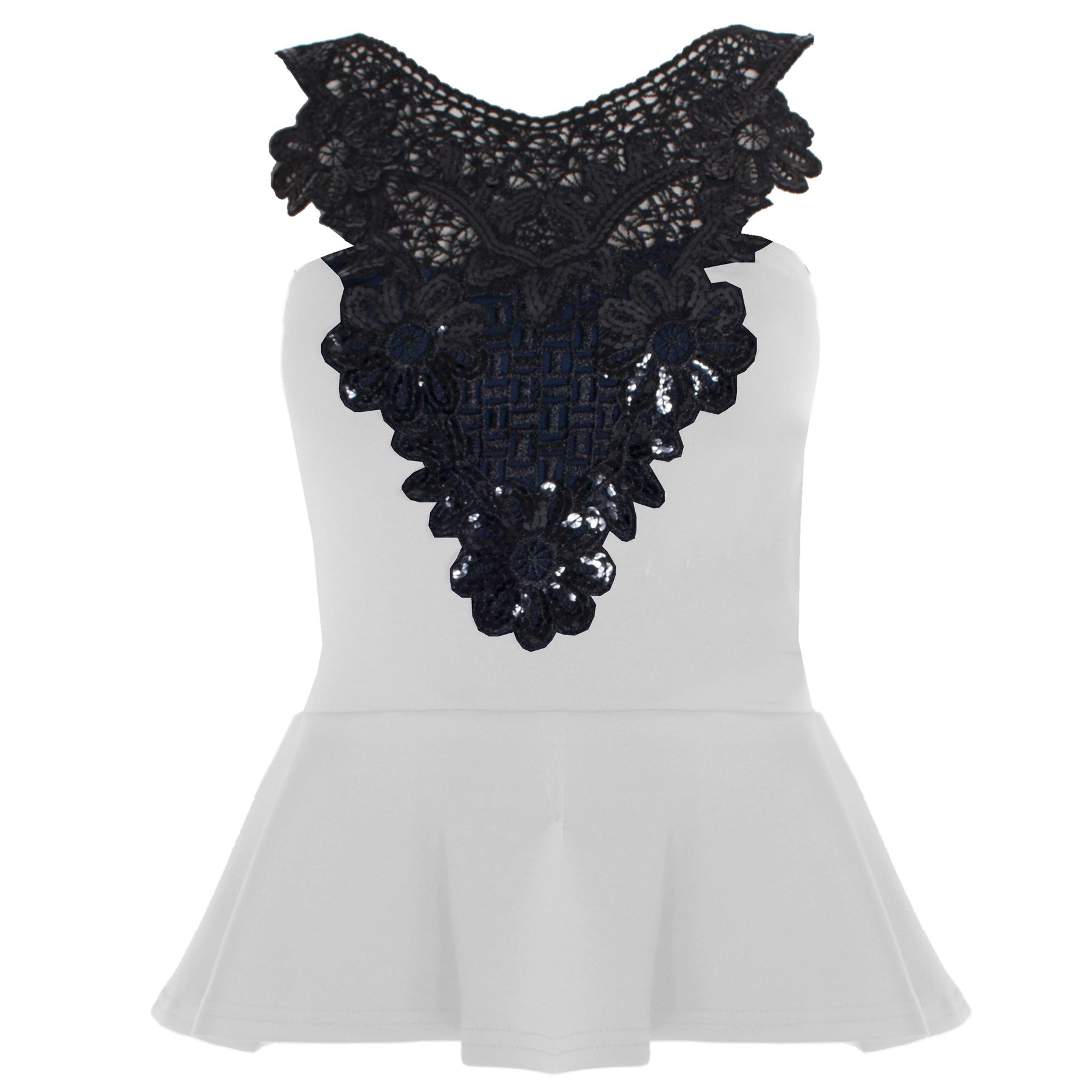 New Womens Ladies Sleeveless Crochet Sequin Floral Lace Insert ...