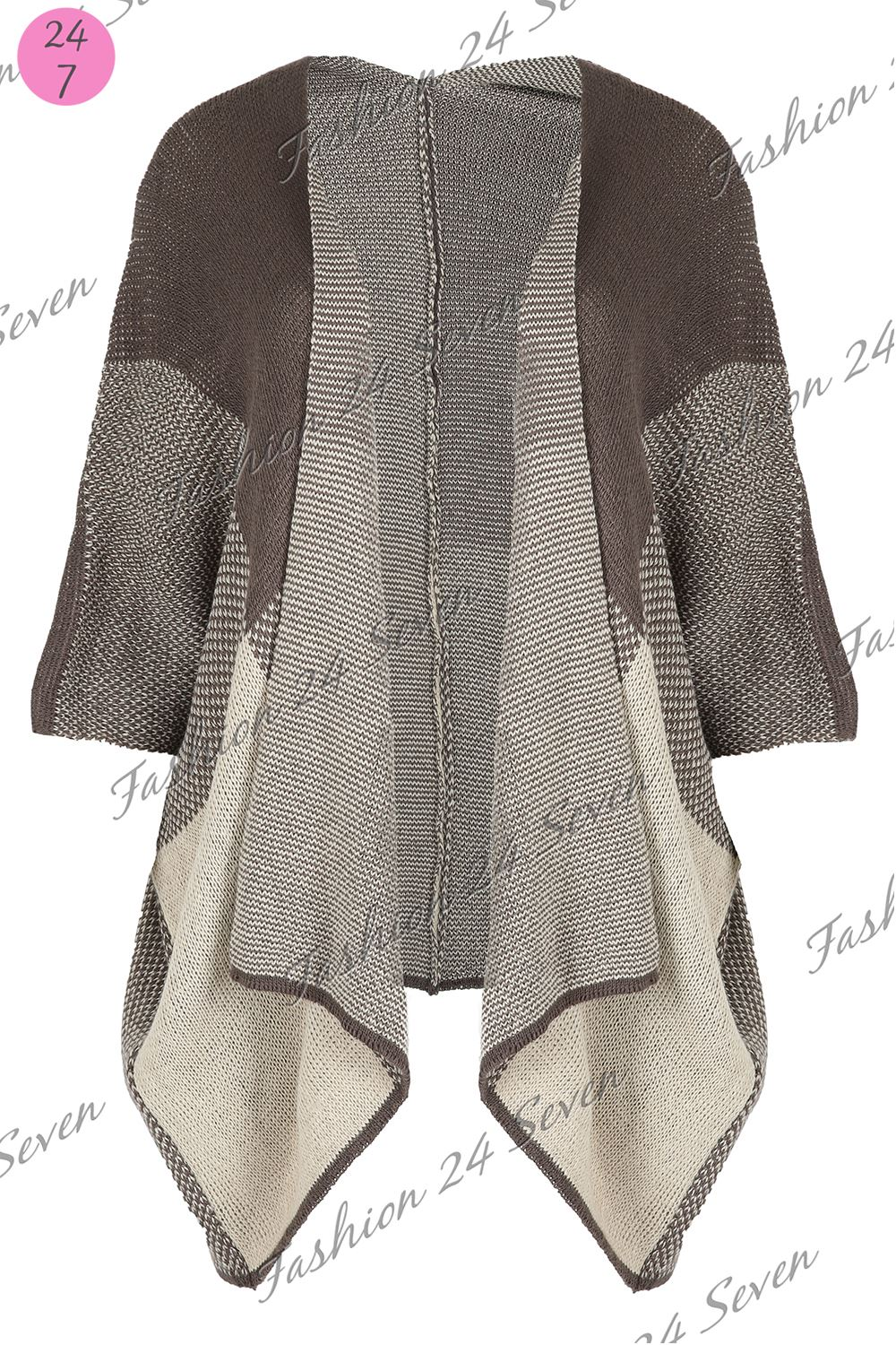 Ladies Blanket Wrap Womens Knitted Block Check Poncho ...