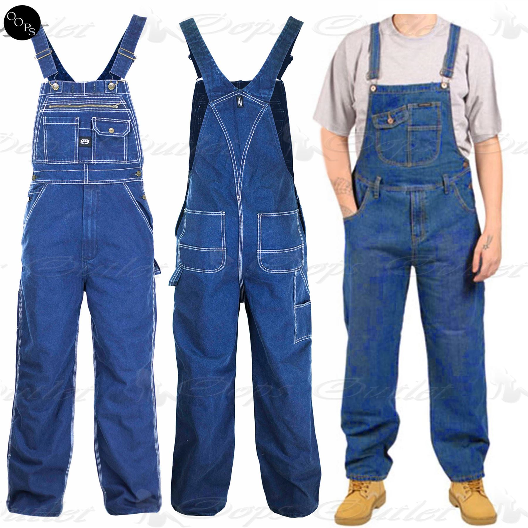 Mens Work Overall Loose Fit Womens Ladies Jeans Pinafore Denim ... 9cbe84e394f