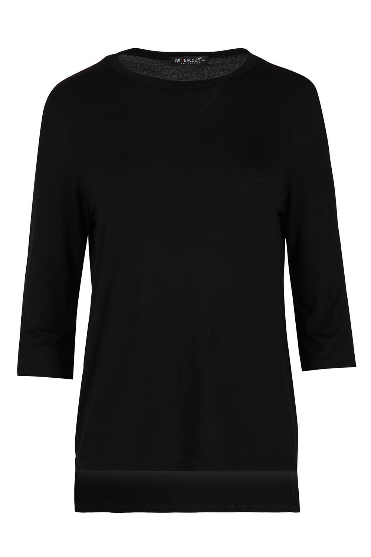 Womens T Shirt Ladies Addicted Print 3 4 Contrast Sleeve