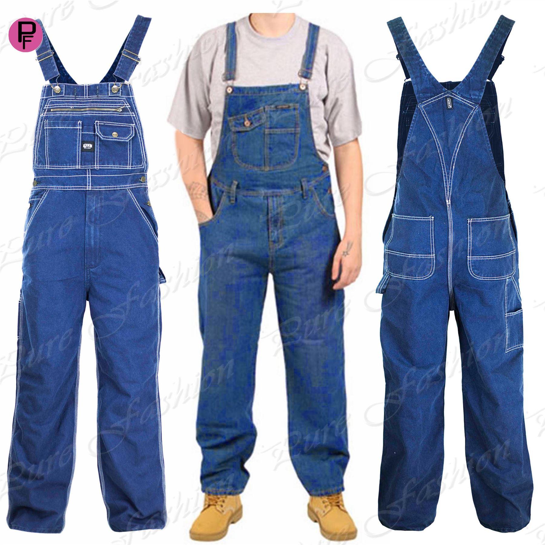 Mens Loose Fit Bib Denim All In One Piece Jeans Work Overalls Onesie ... 7ee93d971cb