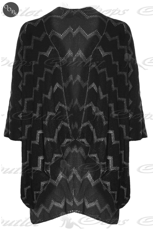 Womens Ladies Aztec Knitted Blanket Wrap Cape Kimono Poncho Cardigans Shawl ...
