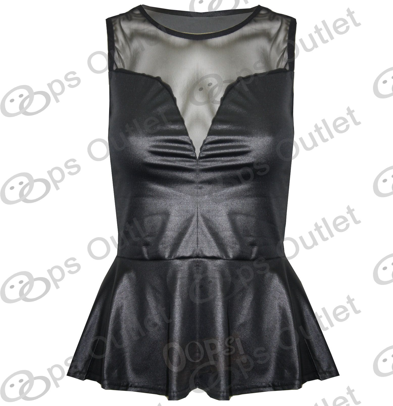 Womens-Wetlook-PVC-Leather-Ladies-Bodycon-Tunic-Dress-Peplum-Top-Leggings-Skirt