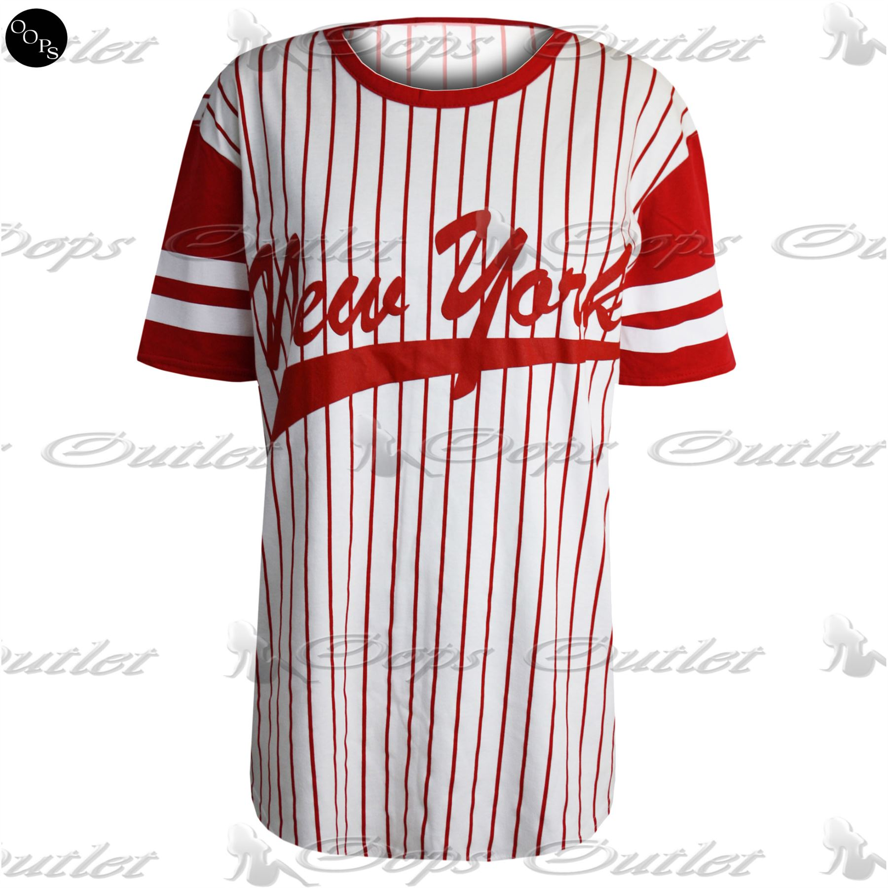 femme baggy jersey femmes new york rayures imprim varsity baseball t shirt top ebay. Black Bedroom Furniture Sets. Home Design Ideas