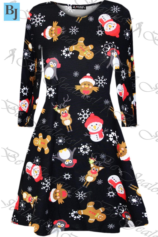 Womens kids christmas swing dress childrens santa gift