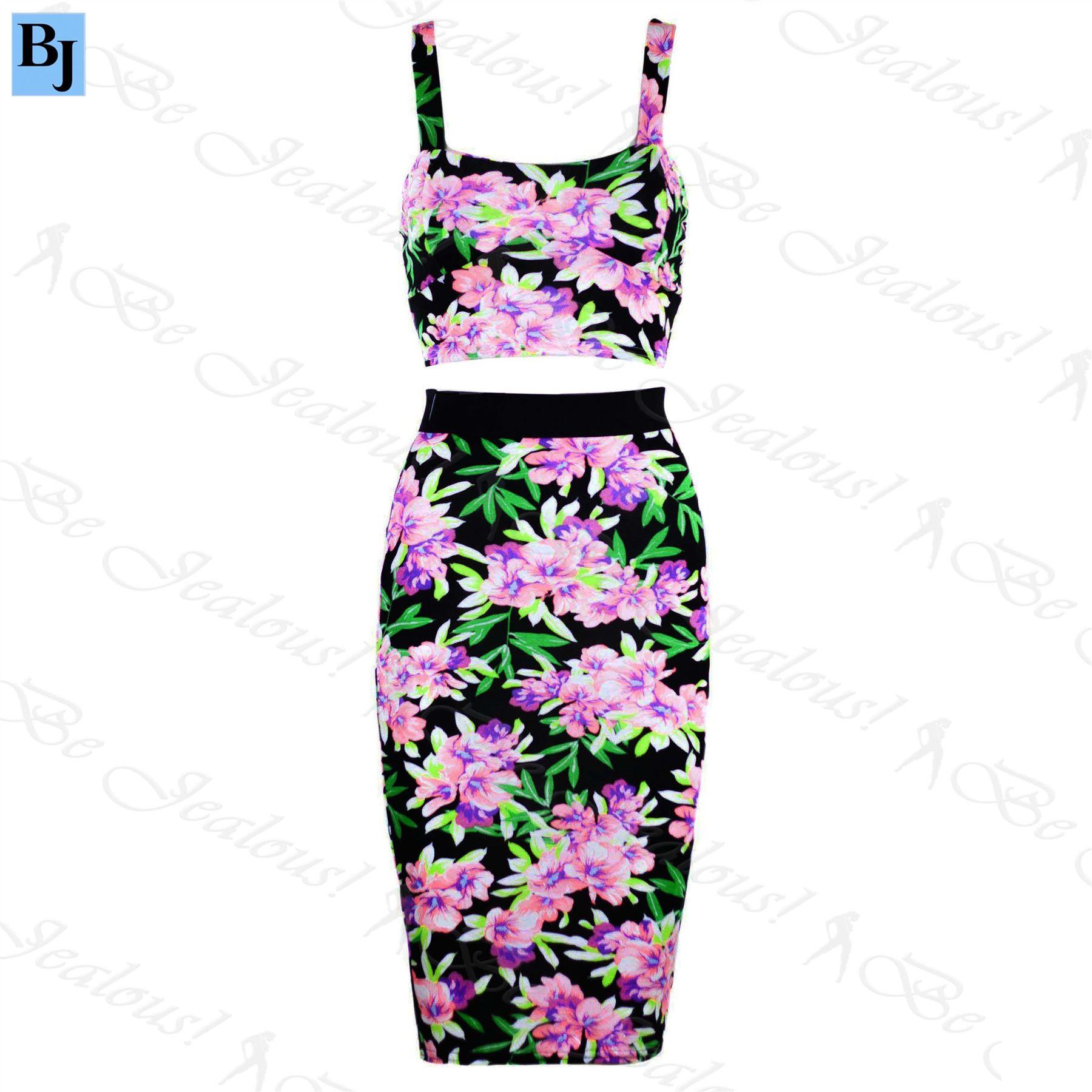 womens pencil bodycon midi skirt splash crop