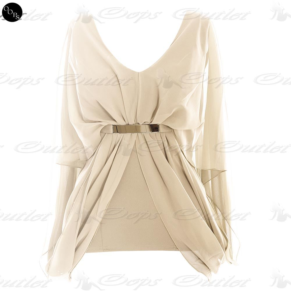 Womens V Neck Gold Buckle Ladies Belt Chiffon Batwing Gypsy ...