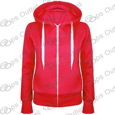 Ladies-Plain-Hoody-Girls-Zip-Top-Womens-Hoodies-Sweatshirt-Jacket-Plus-Size-6-22