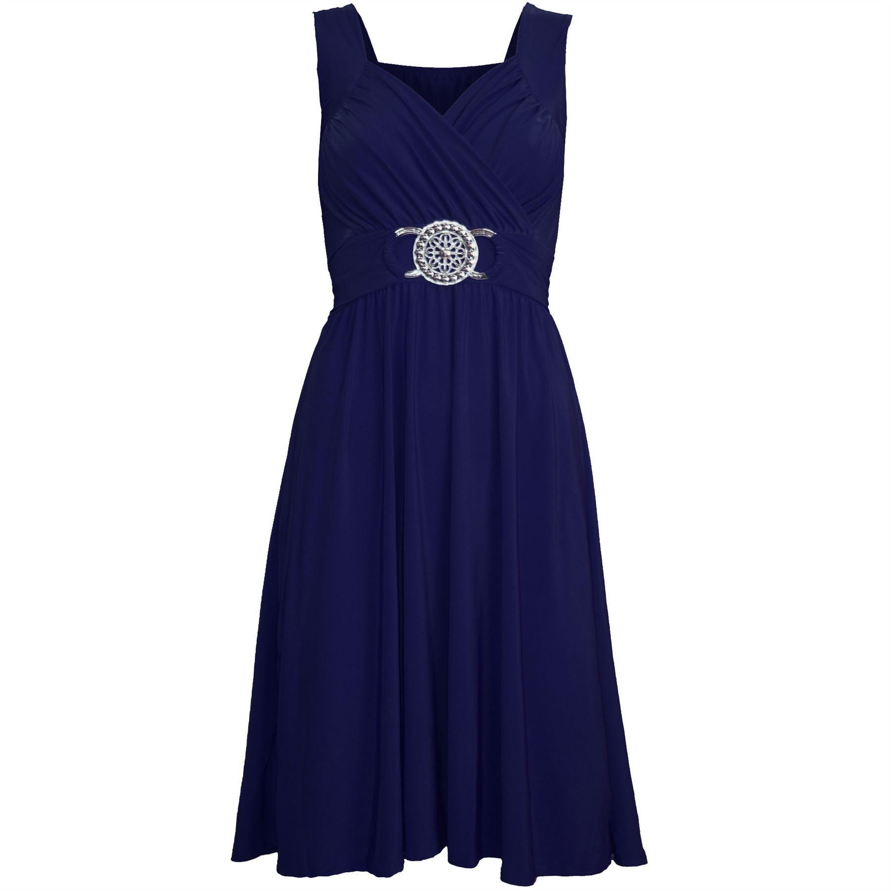 womens midi dress sleeveless wrapover silver badge