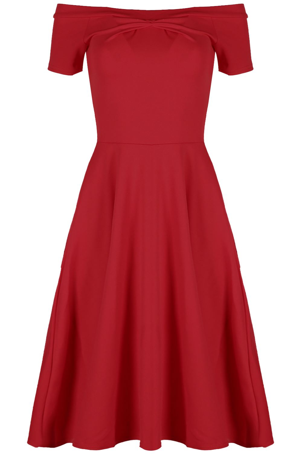 Womens Off The Shoulder Flared Cap Sleeve Ladies Party Midi Swing Skater Dress