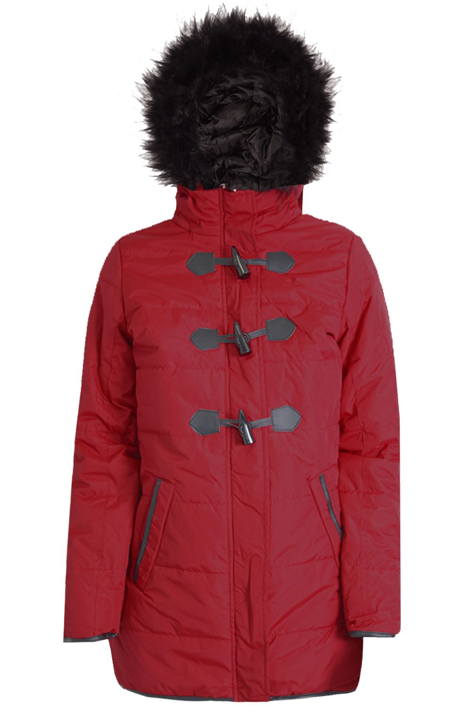 Womens duffle coat with fur hood