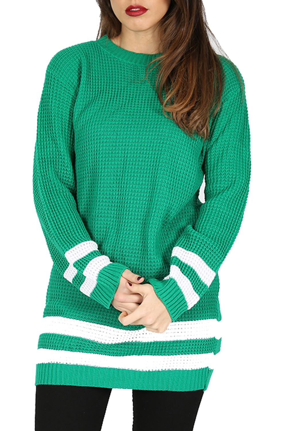 Womens Ladies Oversize Chunky Knit Baggy Stripes Long