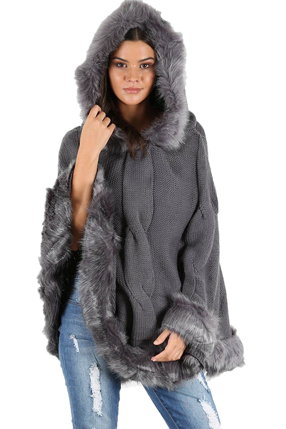 Womens Ladies Knitted Faux Fur Trim Pullover Hooded Shawl ...