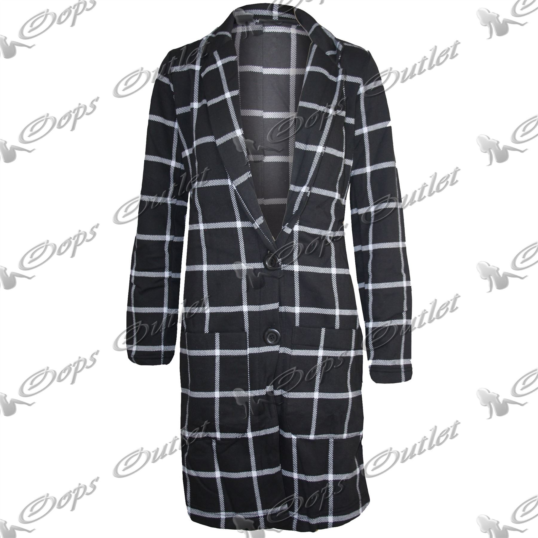 Womens-Ladies-Front-Long-Boyfriend-Tartan-Long-Sleeves-Coat-Button-Jacket-Blazer