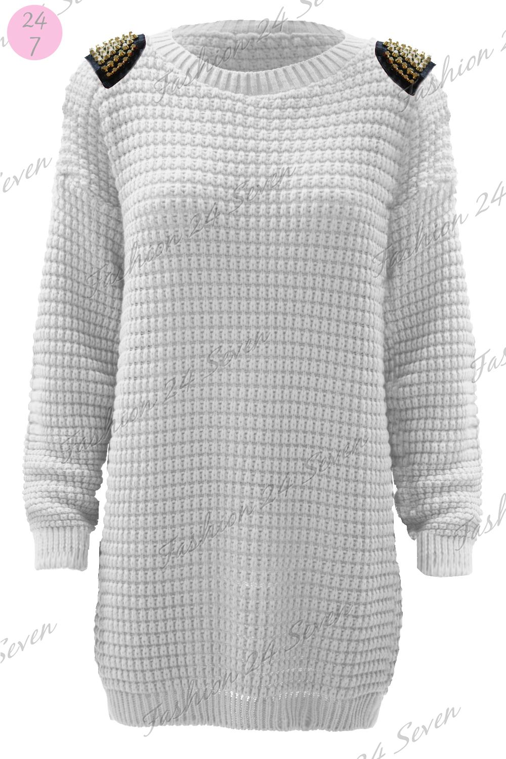 Womens Ladies Shoulder Spikes Studded Chunky Loose Knitted Jumper Tunic Dress