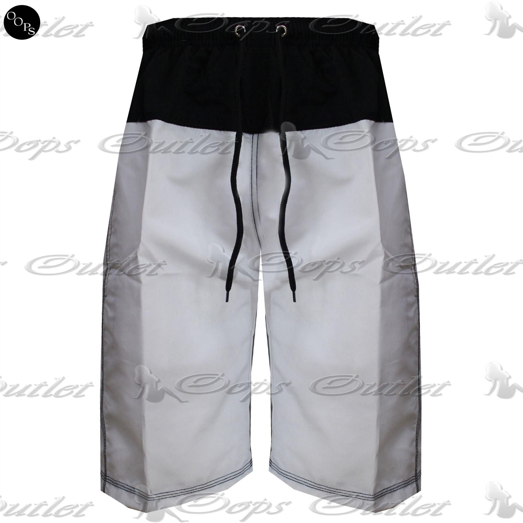Mens Summer Contrast Beach Adjustable Waist String Knee Length Gym ...