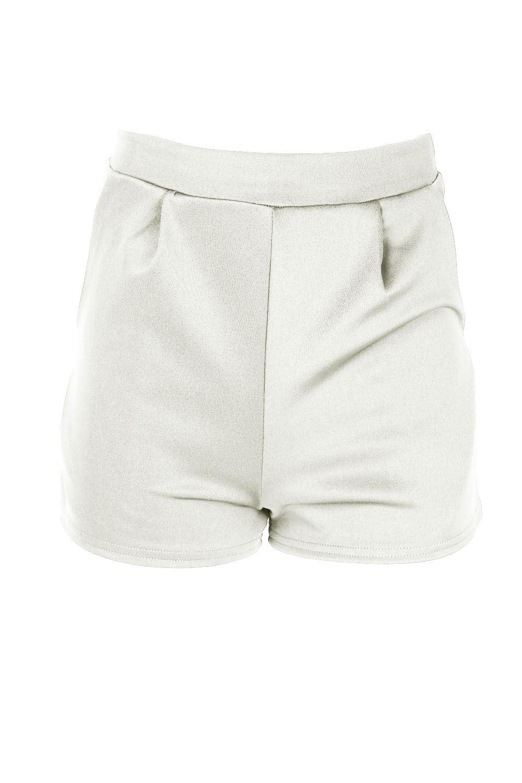 Womens Ladies Scuba One Button Coat Blazer Pleated Side Pocket Hot Pants Shorts