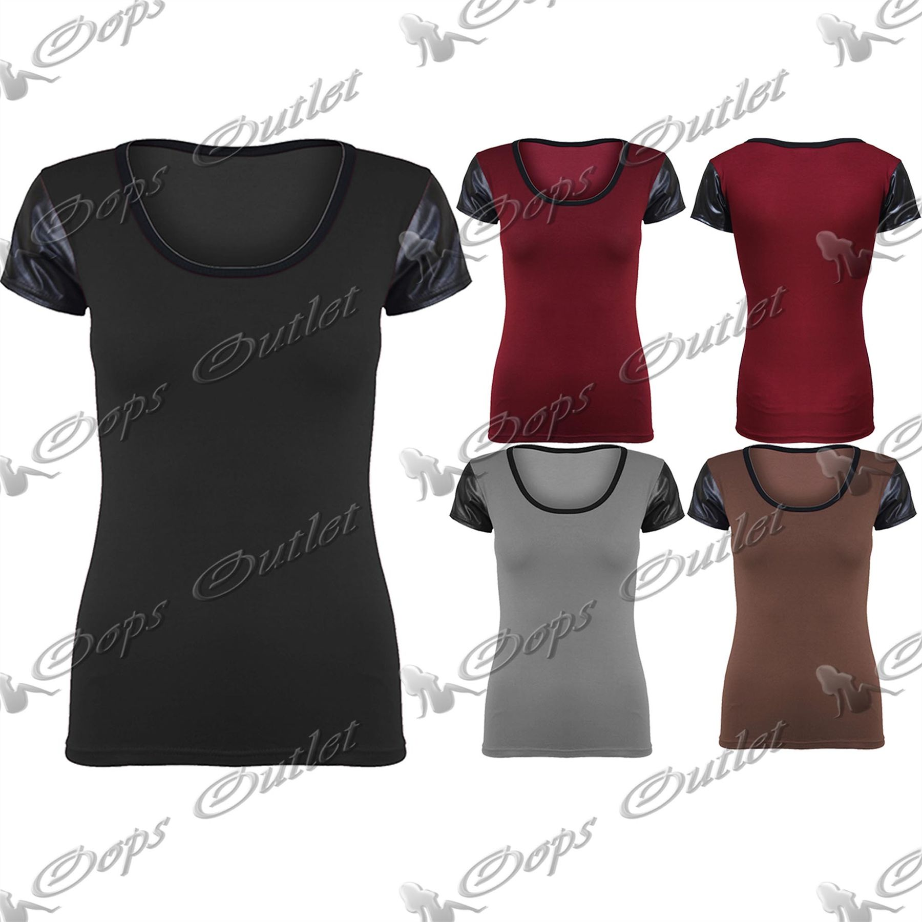 haut t shirt femme pvc aspect mouill manches courtes col rond uni neuf ebay. Black Bedroom Furniture Sets. Home Design Ideas
