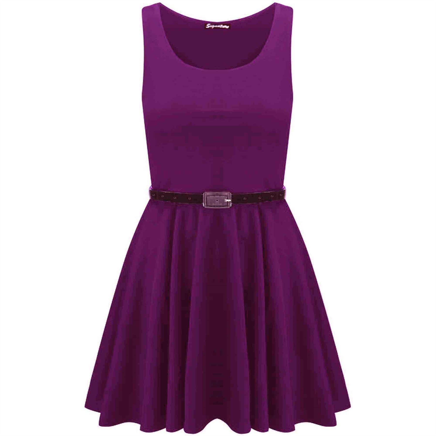 Womens-Sleeveless-Flared-Franki-Party-Ladies-Plus-Size-Skater-Dress-Top-16-26