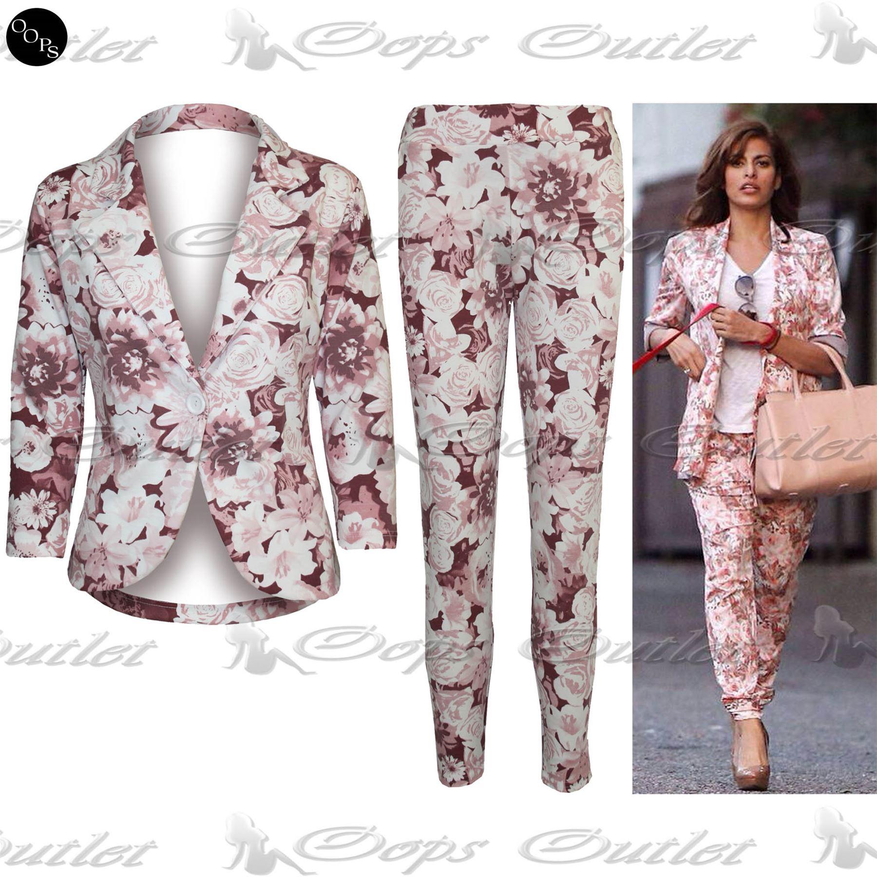 Womens Ladies New Celebrity Floral Print Two Piece Blazer Suit ...