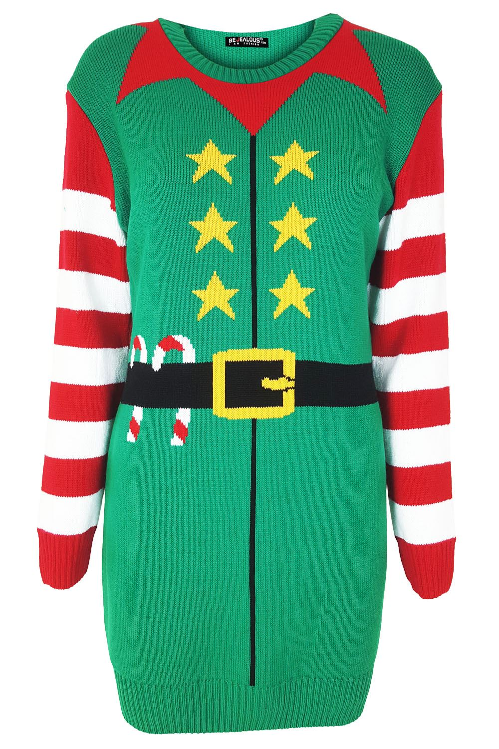 Womens Christmas Santa Elf Costume Ladies Pudding Knit Gingerbread Jumper Dre...