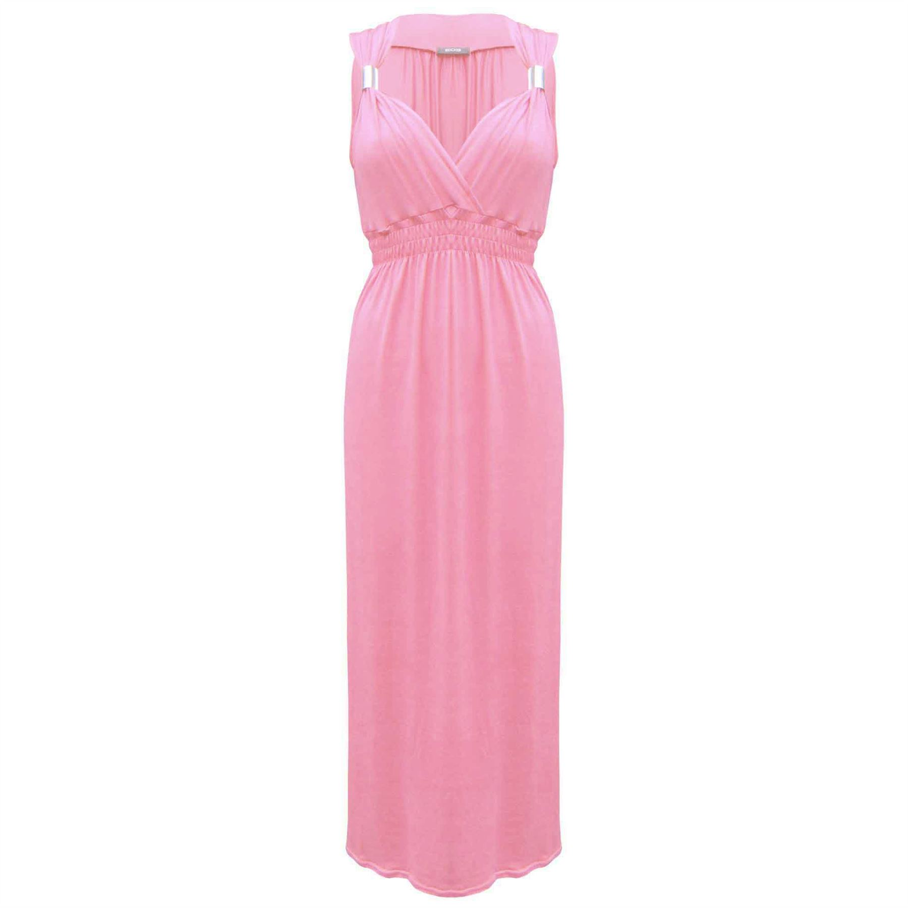 Womens Ladies Sleeveless Stretch Plain Flared Spring Coil Jersey Long Maxi Dress