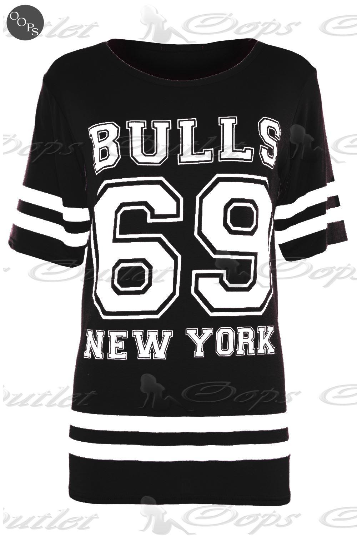 Womens Ladies American Varsity Baseball Oversized Baggy T Shirt Top Plus Size