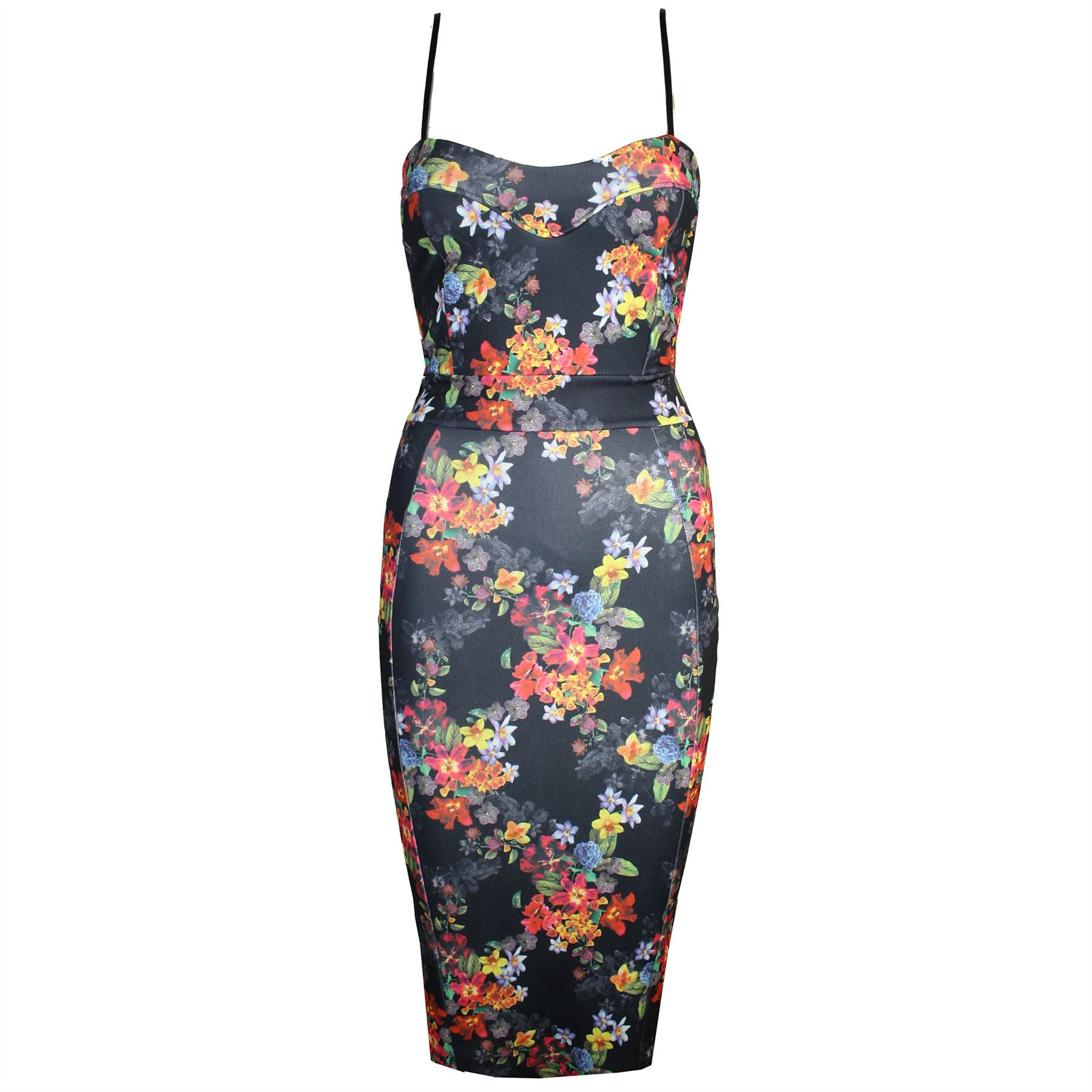 Womens-Ladies-Fitted-Split-Celebrity-Floral-Strappy-Camisole-
