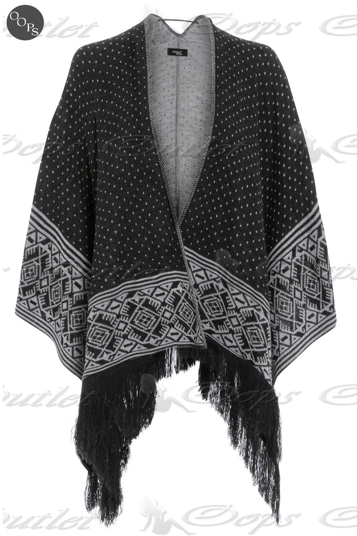 Knitting Pattern For Kimono Wrap : Womens Ladies Aztec Knitted Blanket Wrap Cape Kimono Poncho Cardigans Shawl ...