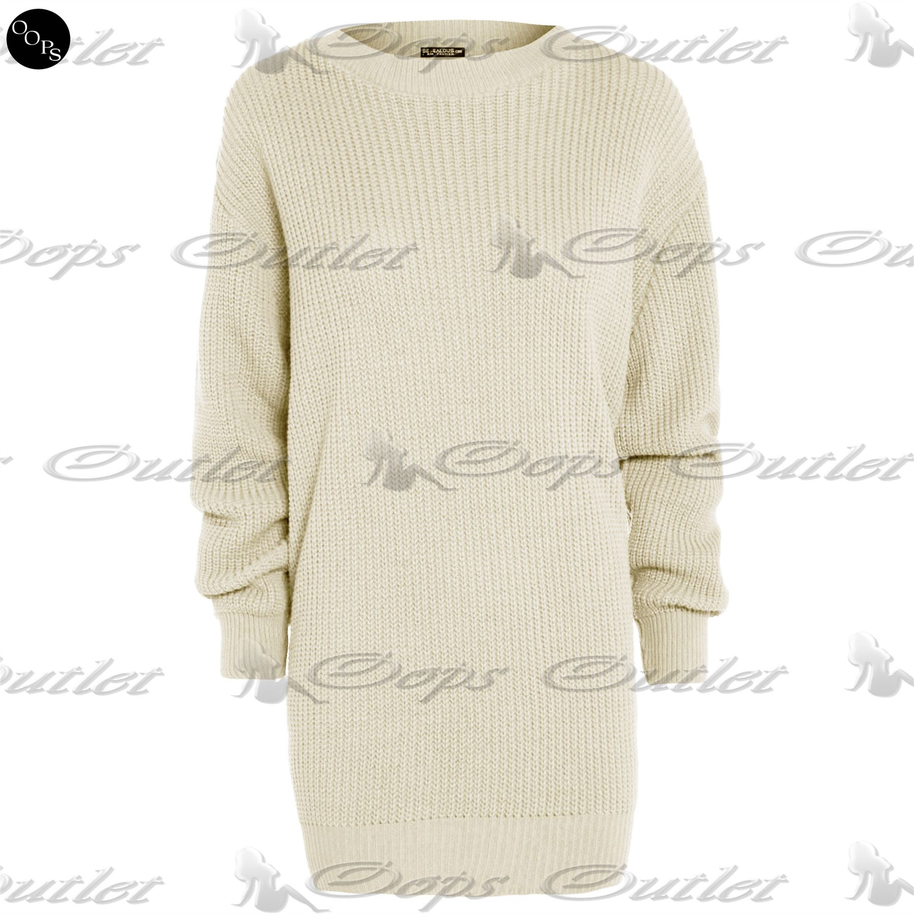 Womens Long Sleeve Oversized Ladies Chunky Knitted Long Sweater Jumper Dress ...