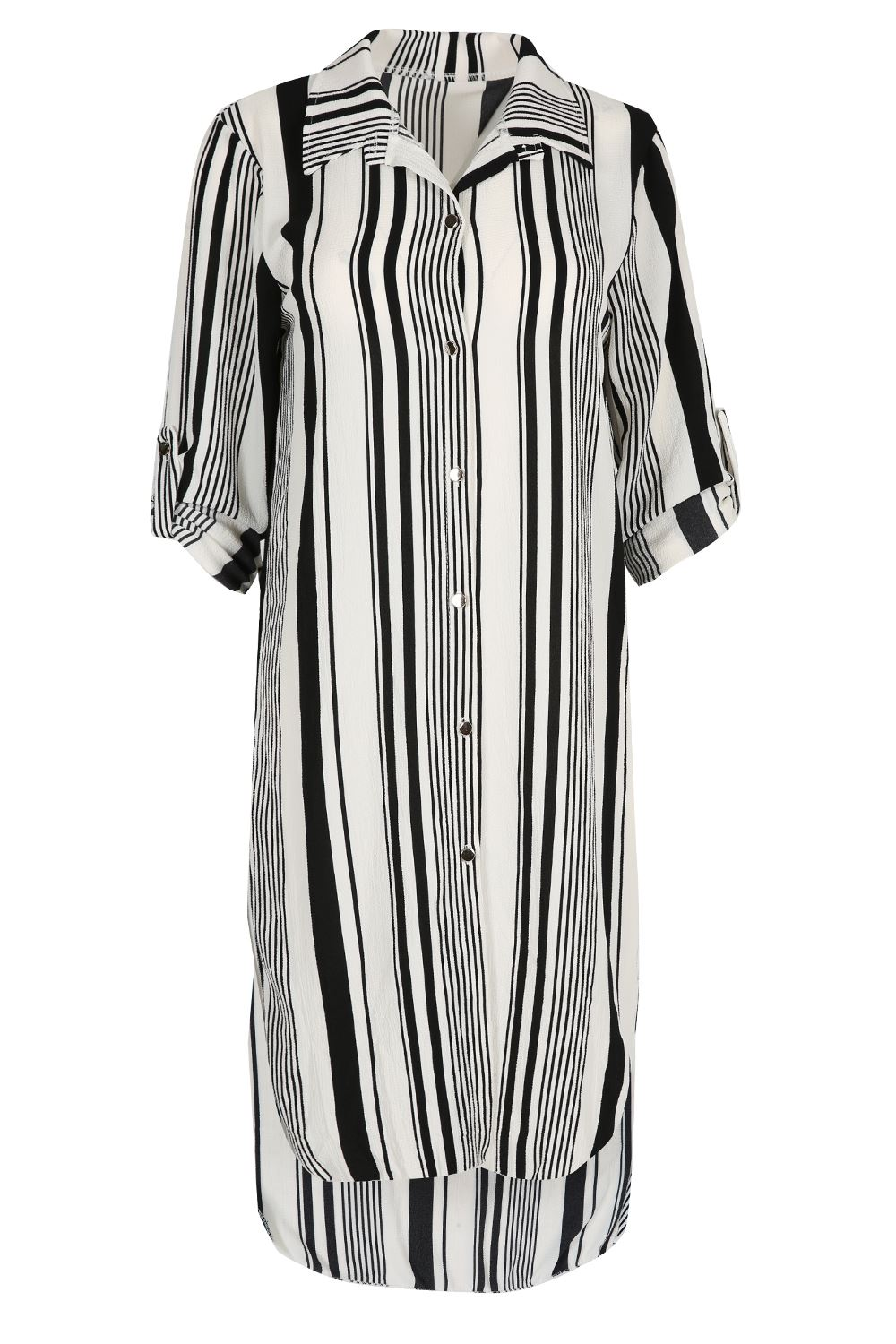 Womens shirt dress ladies stripe side split button down for Women s button down dress shirts