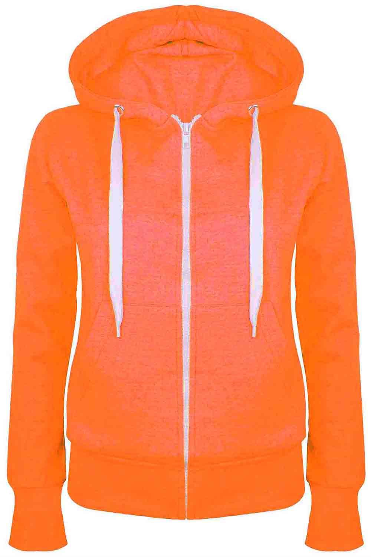 Ladies-Plain-Hoody-Girls-Zip-Top-Womens-Hoodies-Sweatshirt-Jacket-Plus-Size-6-22