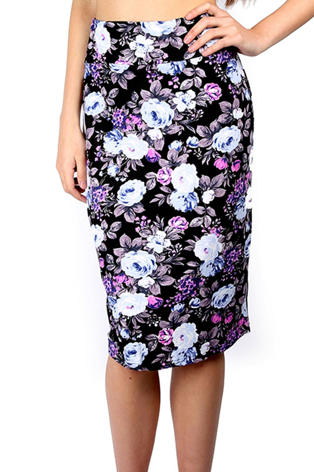 Women Ladies Pencil Fitted Floral Bodycon Wiggle Tube Midi ...