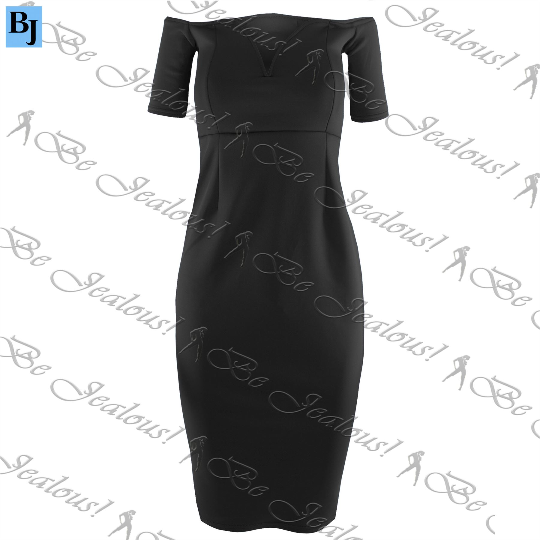 New-Womens-Ladies-Off-Shoulder-V-Neck-Boobtube-Bandeau-Bralet-Bodycon-Midi-Dress