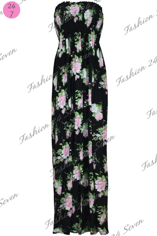 Womens Ladies Floral Gather Bandeau Boobtube Sheering Long Maxi Dress Plus Size