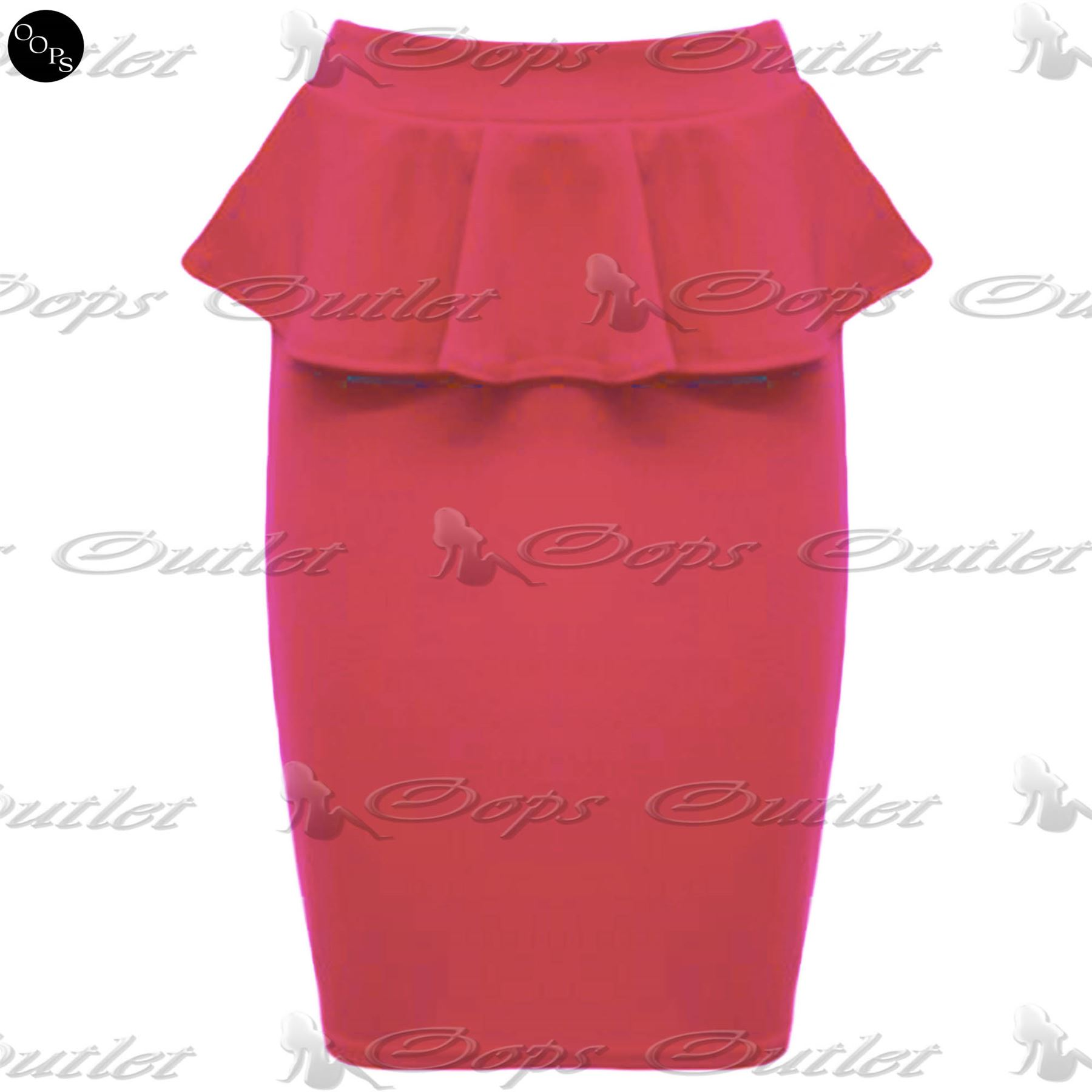 Womens Ladies Frill Bodycon Pencil Stretch Celeb Peplum Midi Skirt Plus Sizes