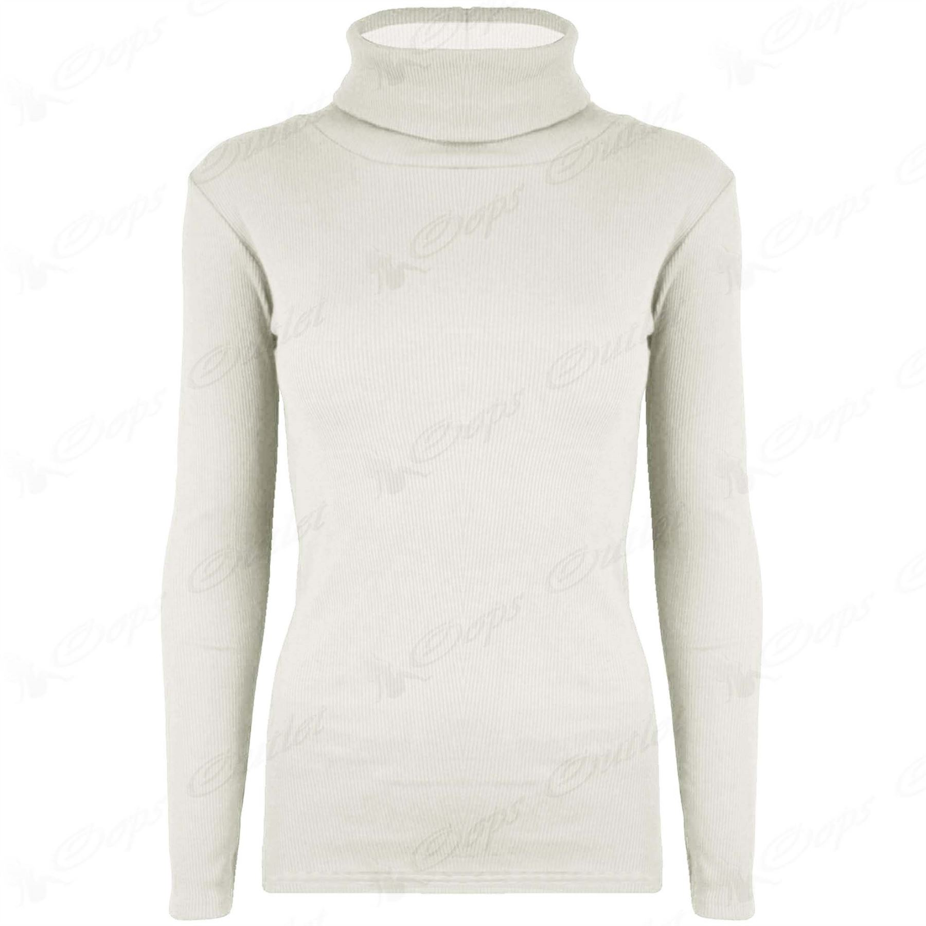 New Womens Ladies Stretchy Polo Turtle Roll Neck Ribbed