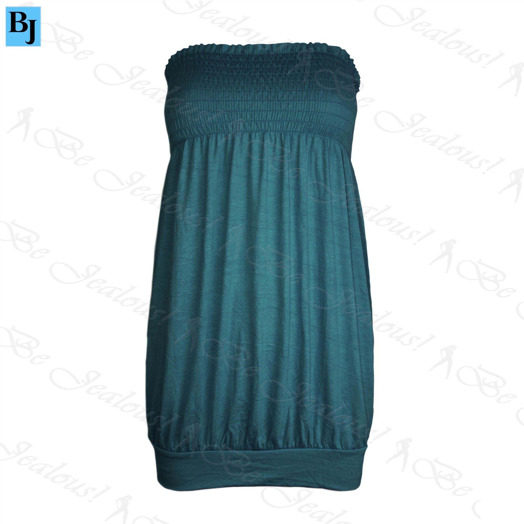 Womens-Ladies-Celeb-Casual-Plain-Sheering-Baggy-Jersey-Vest-Bandeau-Boobtube-Top