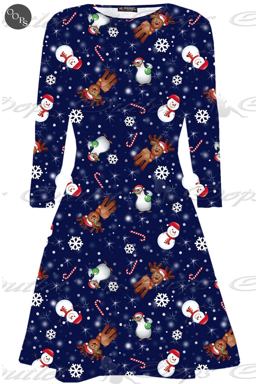Womens christmas swing dress ladies xmas santa rudolph