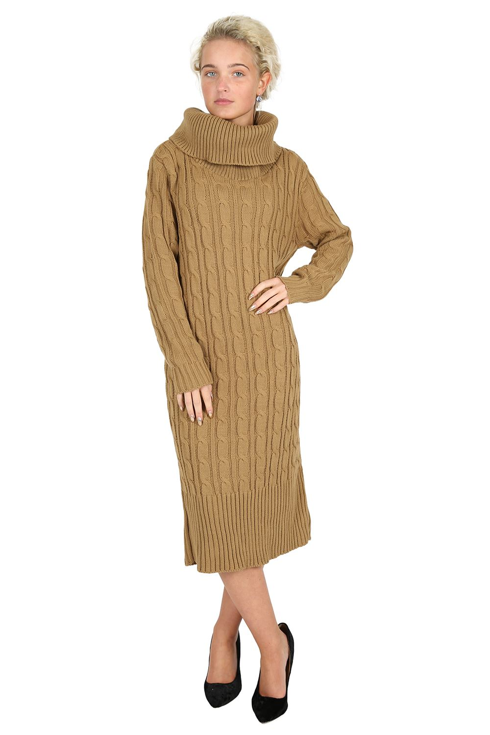 Womens Midi Dress Jumper Ladies Full Sleeve Cowl Neck Cable Knit Long Sweater...