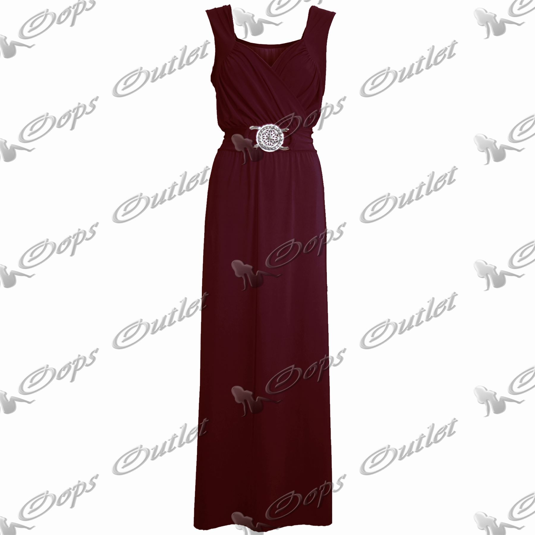 Womens-Sleeveless-Plain-Long-Silver-Buckle-Party-Ladies-Full-Length-Maxi-Dress